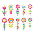 wild field flowers in colorful ornamental design vector image vector image