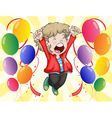 A happy face of a boy with balloons around him vector image