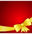 Greeting card with gold silk bow vector image