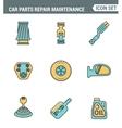Icons line set premium quality of car parts repair vector image