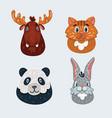 animal faces set moose vector image vector image