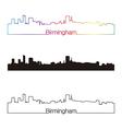 Birmingham skyline linear style with rainbow vector image vector image