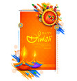 burning diya and firecracker on happy diwali vector image vector image