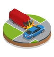 Car accident Car crash Flat 3d isometric vector image