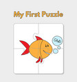 cartoon fish puzzle template for children vector image vector image