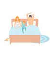 child sleeping in parents bed mother father and vector image vector image