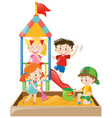 children playing in the sandbox vector image