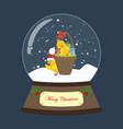 christmas snow globe with chicken vector image vector image