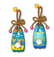 colorful paper bunnies hanging on nail isolated vector image vector image