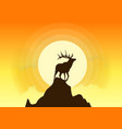 deer silhouette sunset vector image vector image