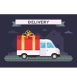Delivery transport truck van with gift box vector image
