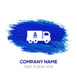 ecology truck icon - blue watercolor background vector image