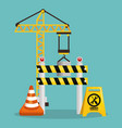 fence with under construction equipment vector image vector image