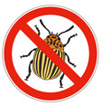 forbidden sign of colorado potato beetle vector image vector image