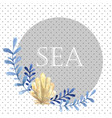 hand drawn watercolor sea card with water plant vector image vector image