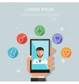 Hand holding smartphone with site of clinic vector image vector image