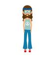 hippie man cartoon vector image vector image