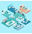 Hospital Isometric Icons vector image vector image