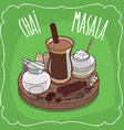 indian tea masala chai with milk jug with lid vector image vector image