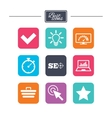 Internet seo icons Bandwidth speed sign vector image vector image