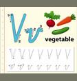letter v tracing alphabet worksheets vector image