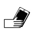 line hand with smartphone technology object design vector image
