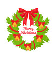 merry christmas green wreath decorated by red bow vector image