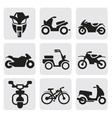 motorcycles and bicycles set vector image vector image