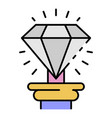 museum diamond icon color outline vector image vector image