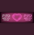 neon glowing sign heart for valentines day vector image