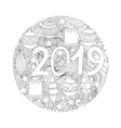 new year 2019 colouring page vector image vector image