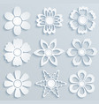 paper flowers set of paper ornaments vector image