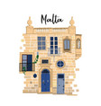part traditional maltese house made sandy vector image