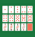 playing cards hearts set vector image vector image