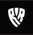 rr logo monogram with shield elements shape vector image vector image