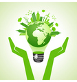 save eco earth with bulb vector image vector image