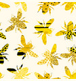 seamless geometric pattern with bee modern vector image vector image