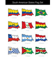 south american states waving flag set vector image
