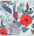 tropical seamless pattern with blue leaves vector image vector image