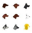 Types of dogs icons set flat style vector image vector image
