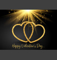 valentines day background with glittery hearts vector image vector image