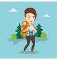 Woman with backpack hiking vector image vector image
