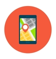Smartphone with map on smartphone screen vector image