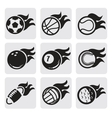 sports balls on fire vector image