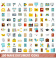 100 make document icons set flat style vector image vector image