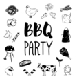BBQ party logos and labels monochrome