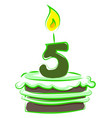 birthday cake with number five on white vector image vector image