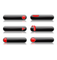 black buttons with red signs menu interface vector image vector image