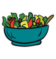 bowl of vegan salad with fresh vegetables color vector image