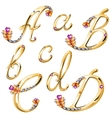 Bronze alphabet with colored gems letters ABCD vector image